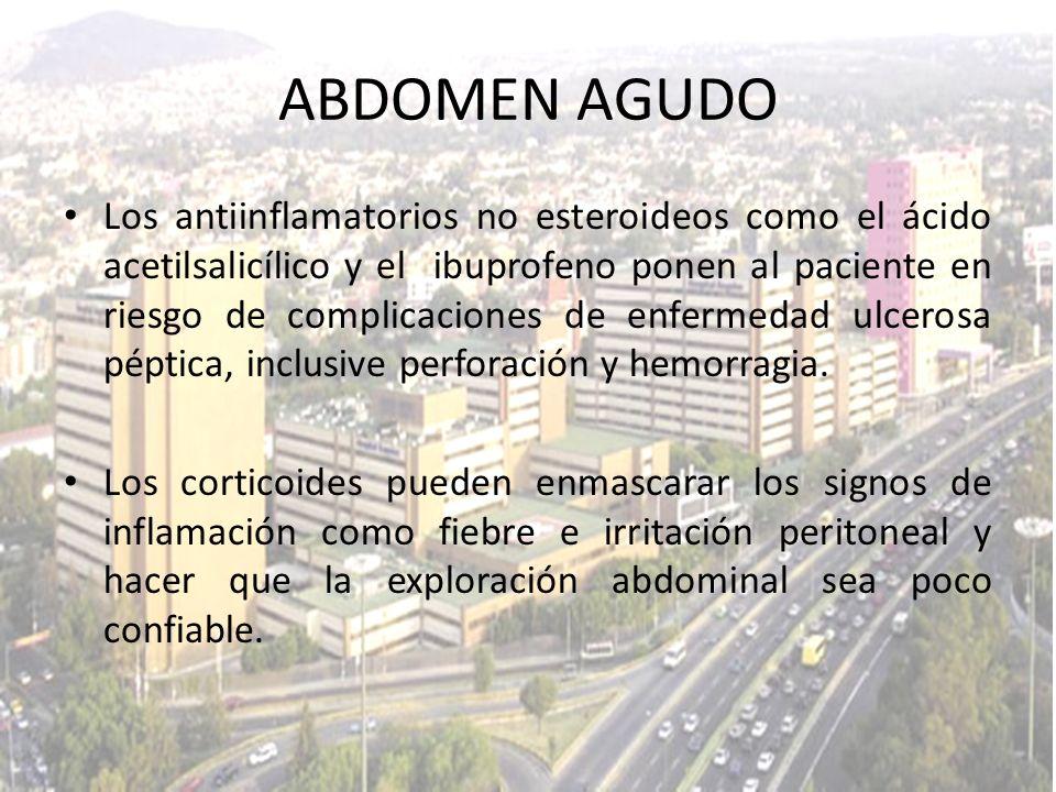 Los antiinflamatorios no esteroideos como el ácido acetilsalicílico y el ibuprofeno ponen al paciente en riesgo de complicaciones de enfermedad ulcero