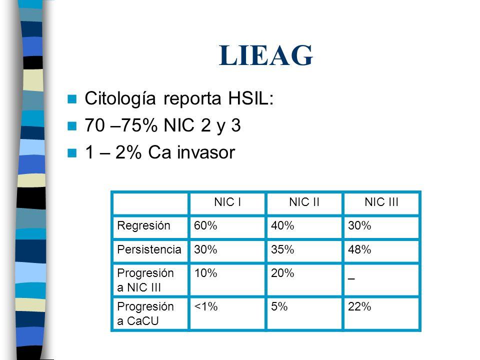 LIEAG Citología reporta HSIL: 70 –75% NIC 2 y 3 1 – 2% Ca invasor NIC INIC IINIC III Regresión60%40%30% Persistencia30%35%48% Progresión a NIC III 10%