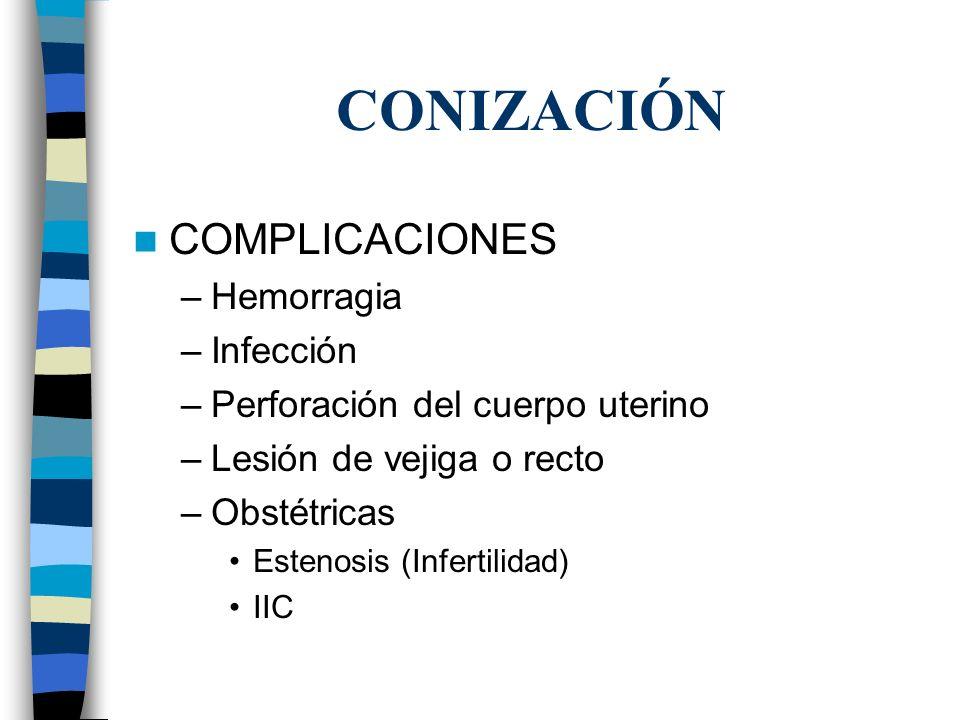 CONIZACIÓN COMPLICACIONES –Hemorragia –Infección –Perforación del cuerpo uterino –Lesión de vejiga o recto –Obstétricas Estenosis (Infertilidad) IIC