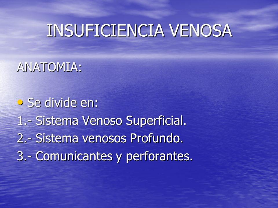 INSUFICIENCIA VENOSA ANATOMIA: Se divide en: Se divide en: 1.- Sistema Venoso Superficial. 2.- Sistema venosos Profundo. 3.- Comunicantes y perforante