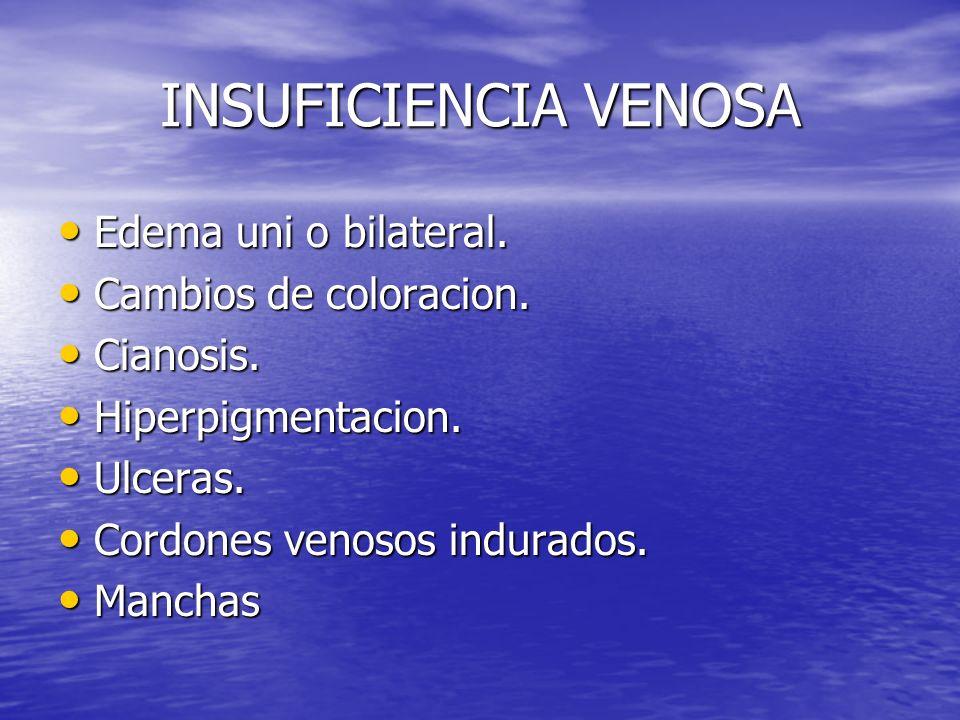 INSUFICIENCIA VENOSA Edema uni o bilateral. Edema uni o bilateral. Cambios de coloracion. Cambios de coloracion. Cianosis. Cianosis. Hiperpigmentacion