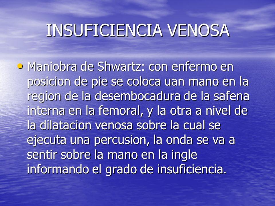 INSUFICIENCIA VENOSA Maniobra de Shwartz: con enfermo en posicion de pie se coloca uan mano en la region de la desembocadura de la safena interna en l