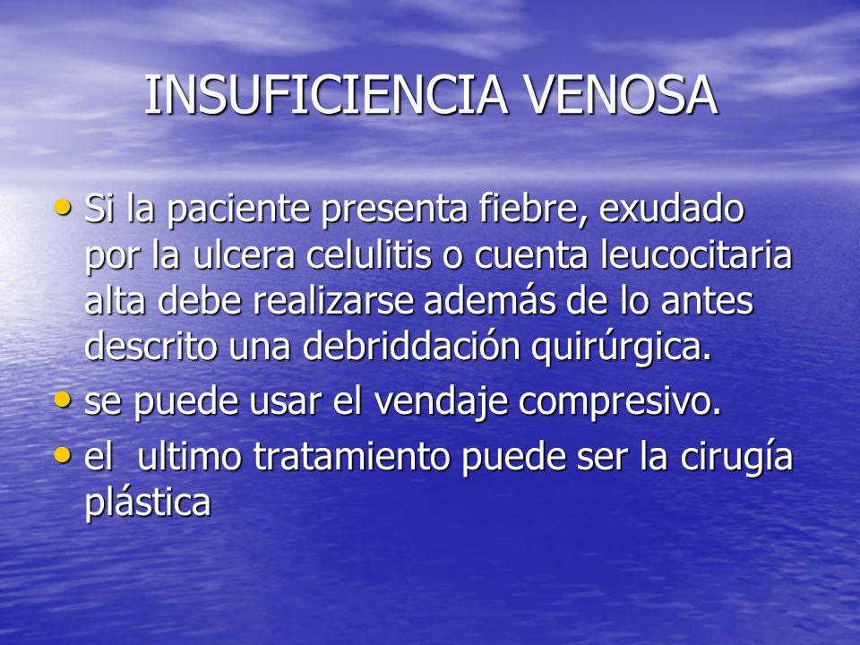 INSUFICIENCIA VENOSA Si la paciente presenta fiebre, exudado por la ulcera celulitis o cuenta leucocitaria alta debe realizarse además de lo antes des