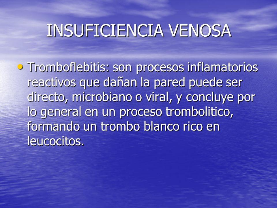 INSUFICIENCIA VENOSA Tromboflebitis: son procesos inflamatorios reactivos que dañan la pared puede ser directo, microbiano o viral, y concluye por lo