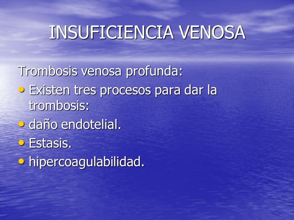 INSUFICIENCIA VENOSA Trombosis venosa profunda: Existen tres procesos para dar la trombosis: Existen tres procesos para dar la trombosis: daño endotel