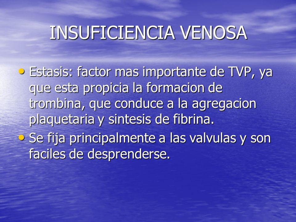 INSUFICIENCIA VENOSA Estasis: factor mas importante de TVP, ya que esta propicia la formacion de trombina, que conduce a la agregacion plaquetaria y s