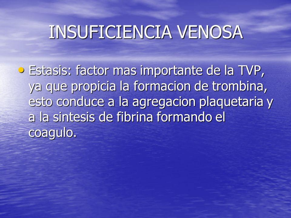 INSUFICIENCIA VENOSA Estasis: factor mas importante de la TVP, ya que propicia la formacion de trombina, esto conduce a la agregacion plaquetaria y a