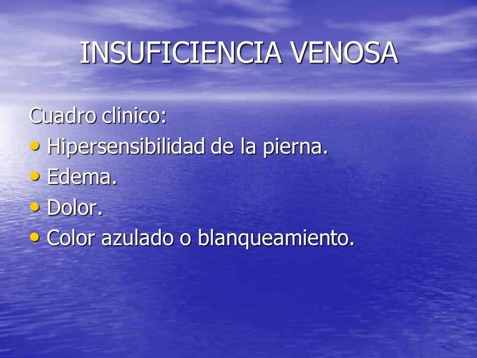 INSUFICIENCIA VENOSA Cuadro clinico: Hipersensibilidad de la pierna. Hipersensibilidad de la pierna. Edema. Edema. Dolor. Dolor. Color azulado o blanq