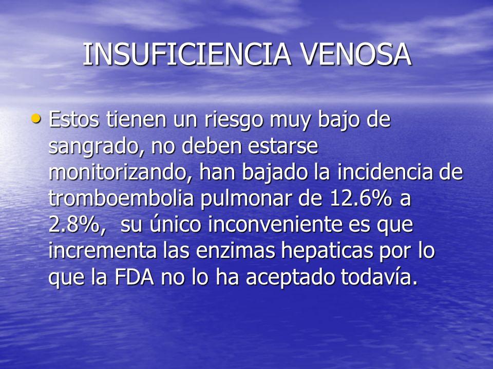INSUFICIENCIA VENOSA Estos tienen un riesgo muy bajo de sangrado, no deben estarse monitorizando, han bajado la incidencia de tromboembolia pulmonar d