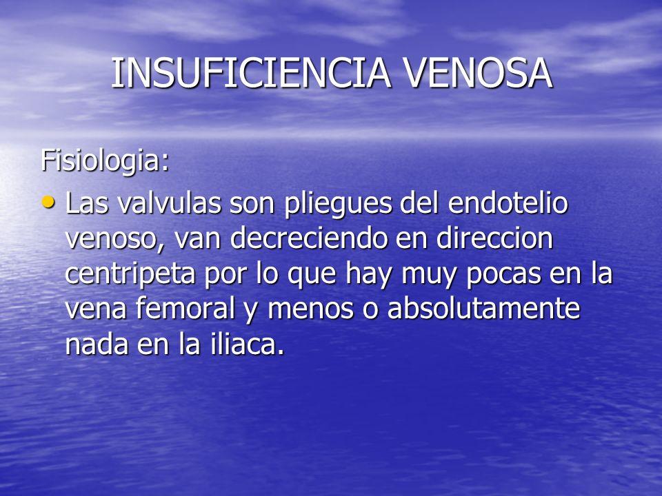 INSUFICIENCIA VENOSA Fisiologia: Las valvulas son pliegues del endotelio venoso, van decreciendo en direccion centripeta por lo que hay muy pocas en l