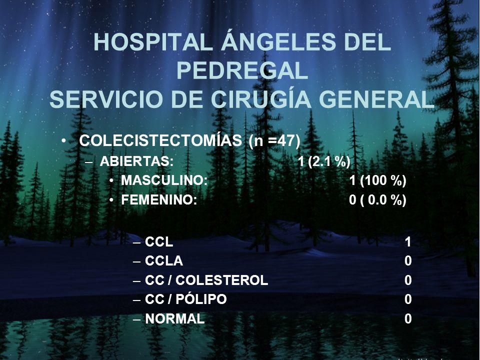 HOSPITAL ÁNGELES DEL PEDREGAL SERVICIO DE CIRUGÍA GENERAL COLECISTECTOMÍAS (n =47) –ABIERTAS: 1 (2.1 %) MASCULINO: 1 (100 %) FEMENINO: 0 ( 0.0 %) –CCL 1 –CCLA 0 –CC / COLESTEROL 0 –CC / PÓLIPO 0 –NORMAL 0