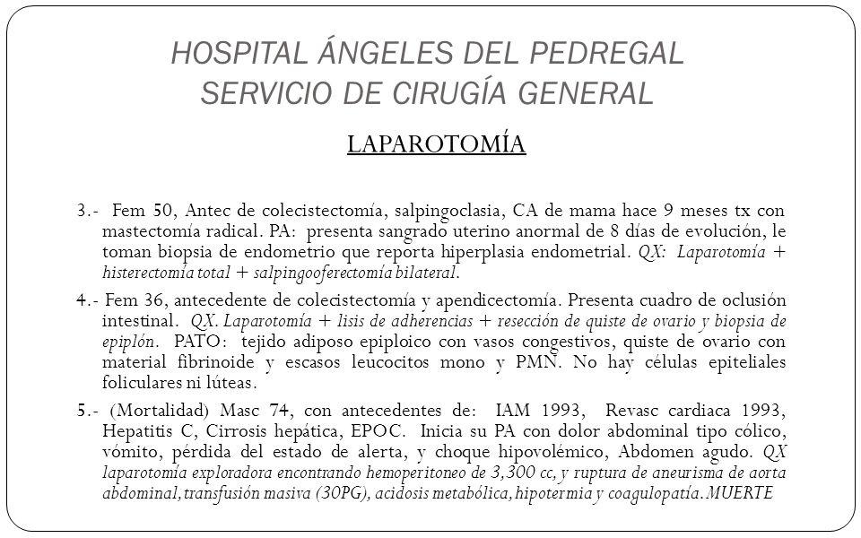 HOSPITAL ÁNGELES DEL PEDREGAL SERVICIO DE CIRUGÍA GENERAL LAPAROTOMÍA 3.- Fem 50, Antec de colecistectomía, salpingoclasia, CA de mama hace 9 meses tx