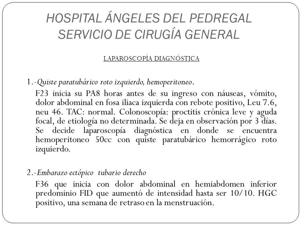 HOSPITAL ÁNGELES DEL PEDREGAL SERVICIO DE CIRUGÍA GENERAL LAPAROSCOPÍA DIAGNÓSTICA 1.-Quiste paratubárico roto izquierdo, hemoperitoneo. F23 inicia su