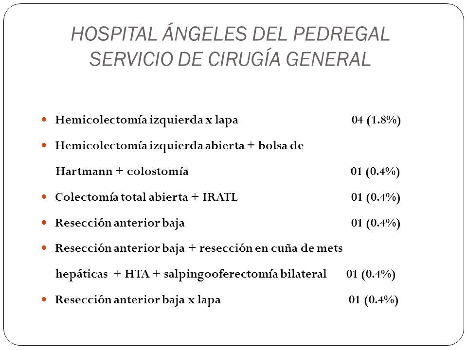 HOSPITAL ÁNGELES DEL PEDREGAL SERVICIO DE CIRUGÍA GENERAL Salpingooferectomía derecha x lapa 01 (0.4%) Salpingooferectomía izquierda x lapa 01 (0.4%) Suprarrenalectomía izquierda x lapa 01 (0.4%) Resección de quiste pilonidal 01 (0.4%) Laparoscopía diagnóstica 02 (0.8%) Laparotomía exploradora 04 (1.6%)