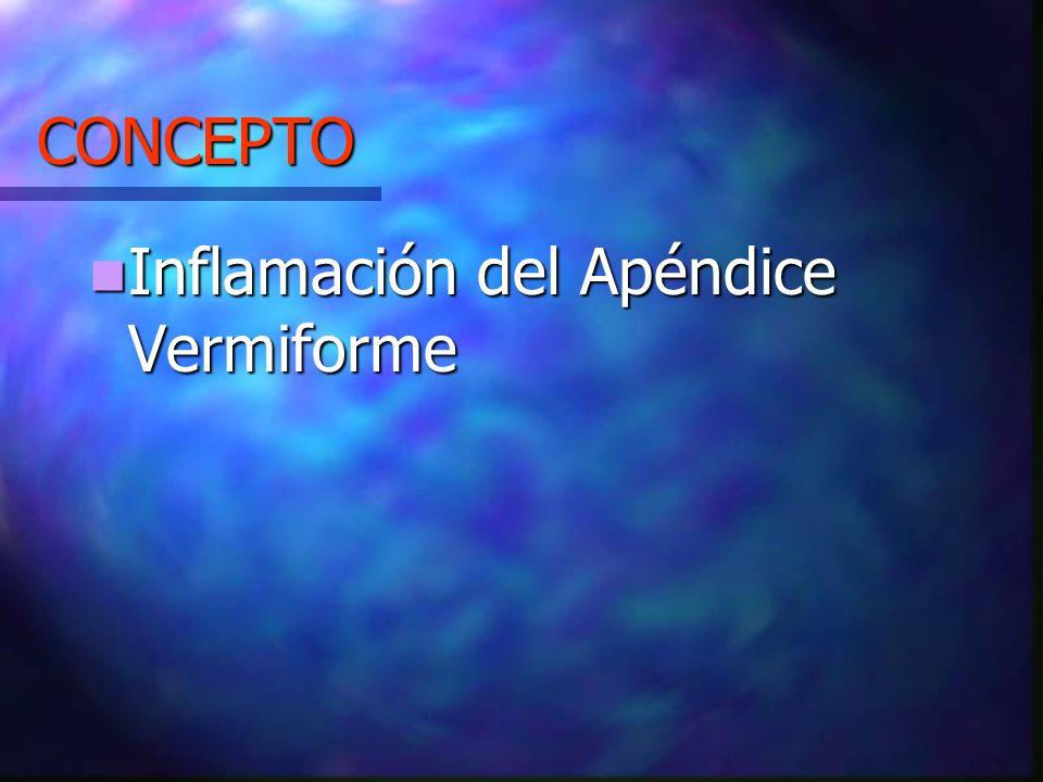 CONCEPTO Inflamación del Apéndice Vermiforme Inflamación del Apéndice Vermiforme