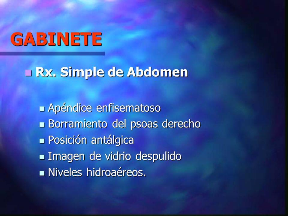 GABINETE Rx. Simple de Abdomen Rx. Simple de Abdomen Apéndice enfisematoso Apéndice enfisematoso Borramiento del psoas derecho Borramiento del psoas d
