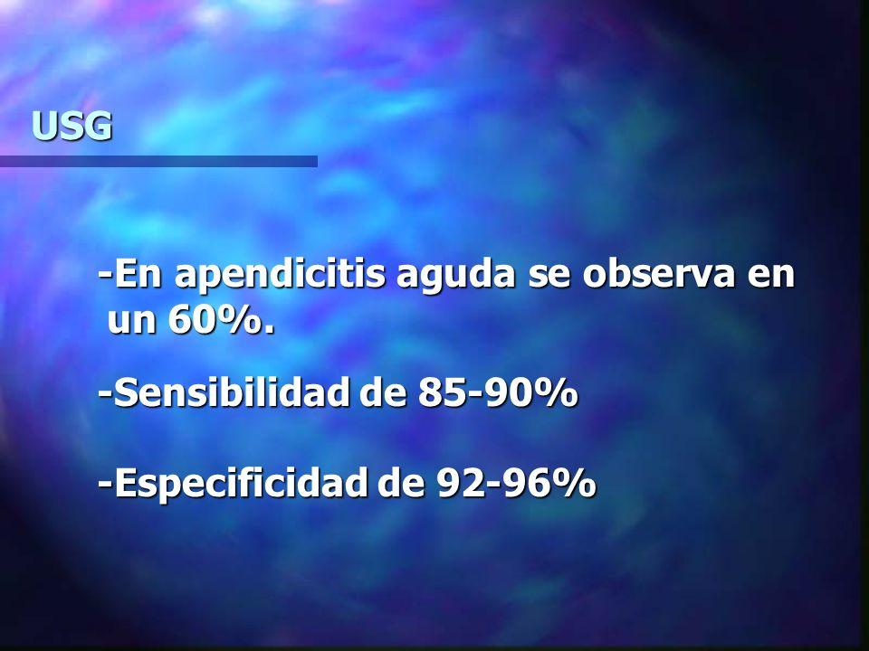 USG -En apendicitis aguda se observa en un 60%. -En apendicitis aguda se observa en un 60%. -Sensibilidad de 85-90% -Sensibilidad de 85-90% -Especific