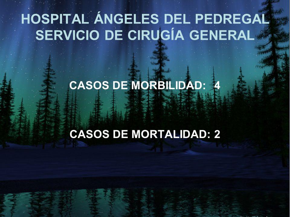 HOSPITAL ÁNGELES DEL PEDREGAL SERVICIO DE CIRUGÍA GENERAL CASOS DE MORBILIDAD:4 CASOS DE MORTALIDAD: 2
