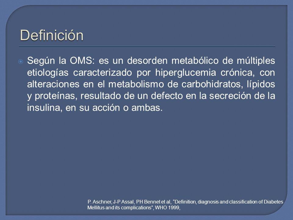 Según la OMS: es un desorden metabólico de múltiples etiologías caracterizado por hiperglucemia crónica, con alteraciones en el metabolismo de carbohi