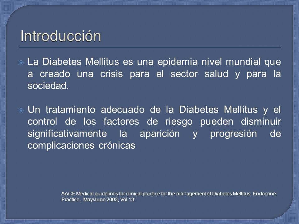 La Diabetes Mellitus es una epidemia nivel mundial que a creado una crisis para el sector salud y para la sociedad. Un tratamiento adecuado de la Diab