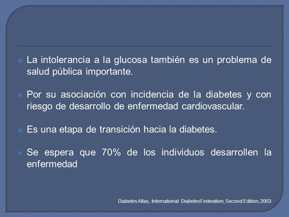 La intolerancia a la glucosa también es un problema de salud pública importante. Por su asociación con incidencia de la diabetes y con riesgo de desar