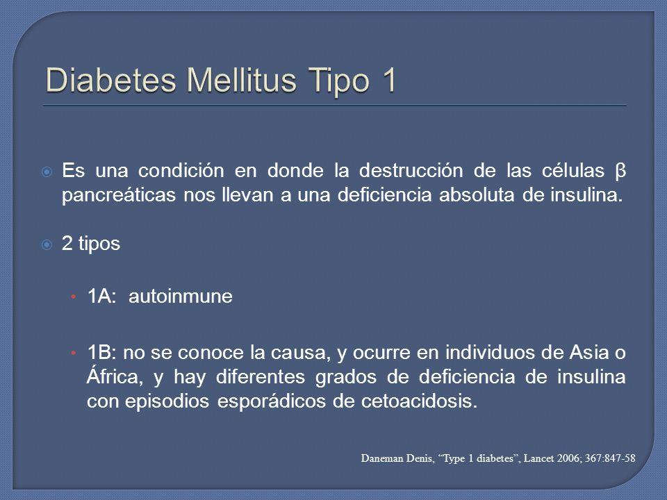 Es una condición en donde la destrucción de las células β pancreáticas nos llevan a una deficiencia absoluta de insulina. 2 tipos 1A: autoinmune 1B: n