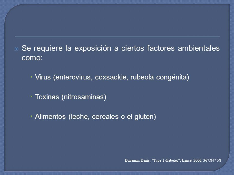Se requiere la exposición a ciertos factores ambientales como: Virus (enterovirus, coxsackie, rubeola congénita) Toxinas (nitrosaminas) Alimentos (lec
