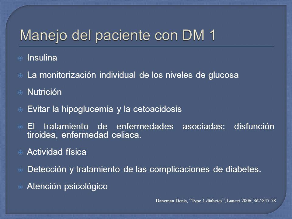 Insulina La monitorización individual de los niveles de glucosa Nutrición Evitar la hipoglucemia y la cetoacidosis El tratamiento de enfermedades asoc