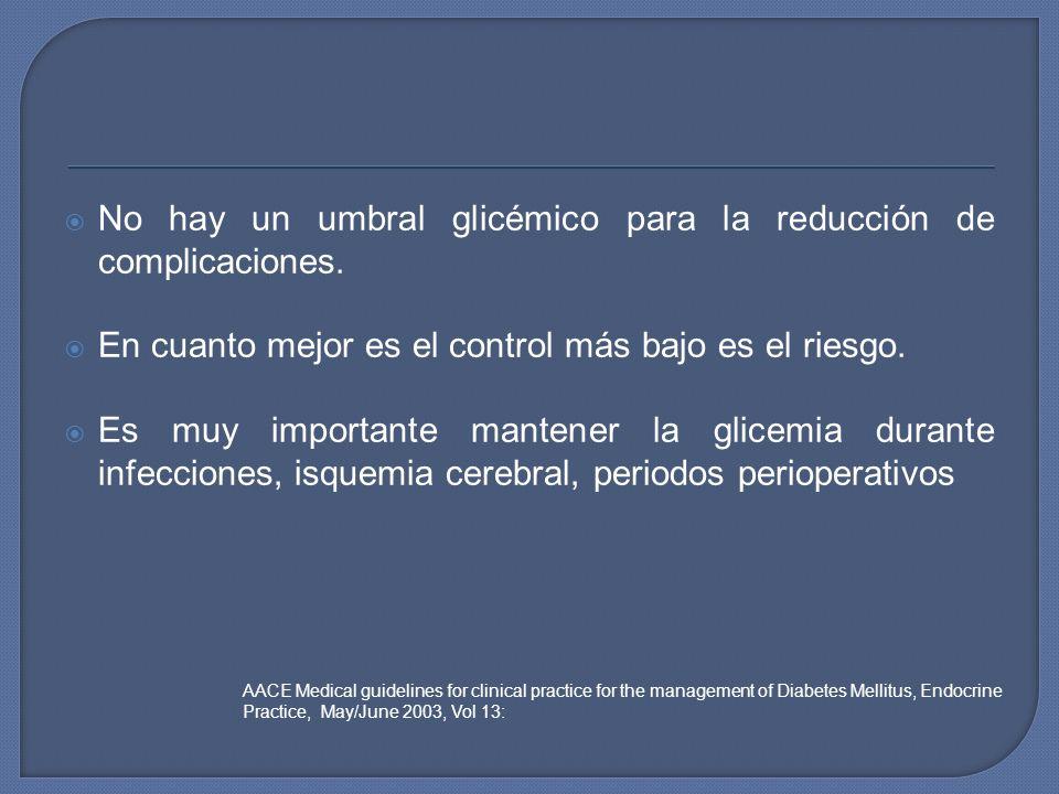 No hay un umbral glicémico para la reducción de complicaciones. En cuanto mejor es el control más bajo es el riesgo. Es muy importante mantener la gli