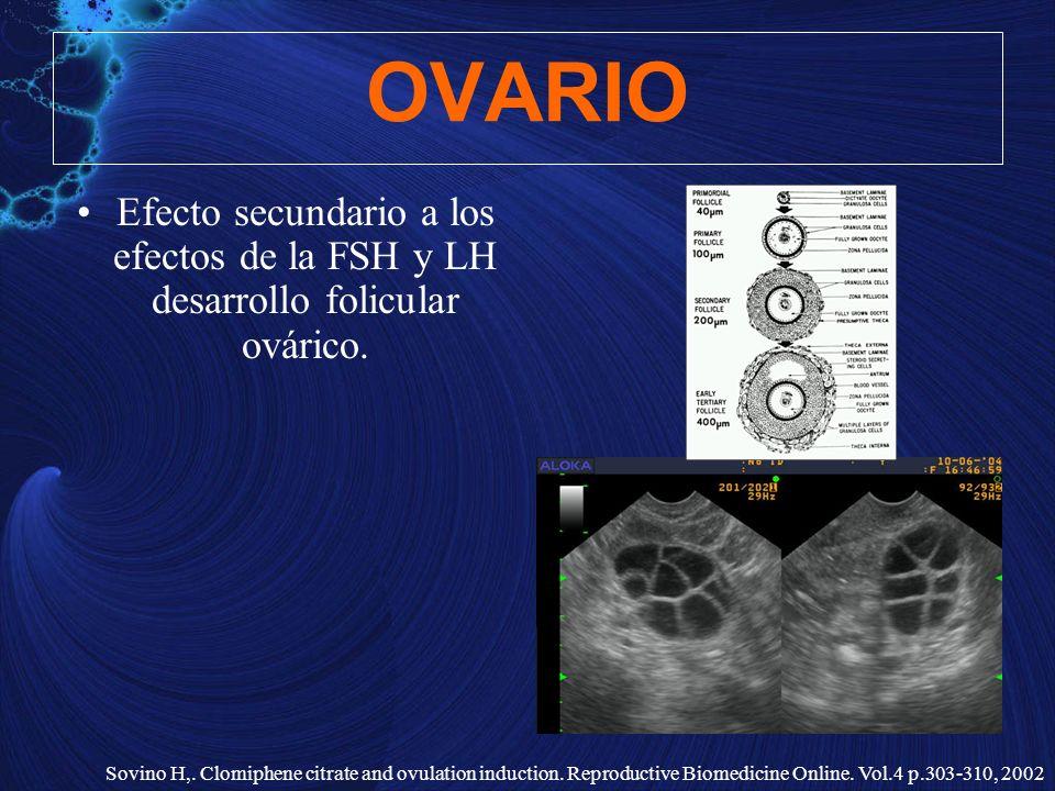 OVARIO Efecto secundario a los efectos de la FSH y LH desarrollo folicular ovárico. Sovino H,. Clomiphene citrate and ovulation induction. Reproductiv