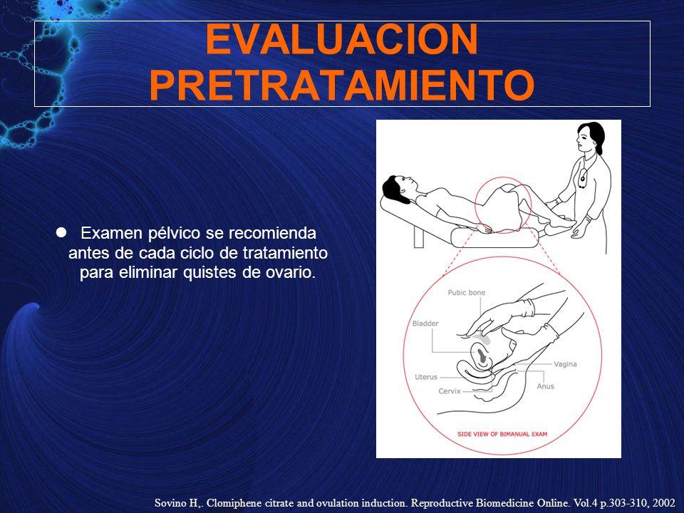 EVALUACION PRETRATAMIENTO Examen pélvico se recomienda antes de cada ciclo de tratamiento para eliminar quistes de ovario. Sovino H,. Clomiphene citra