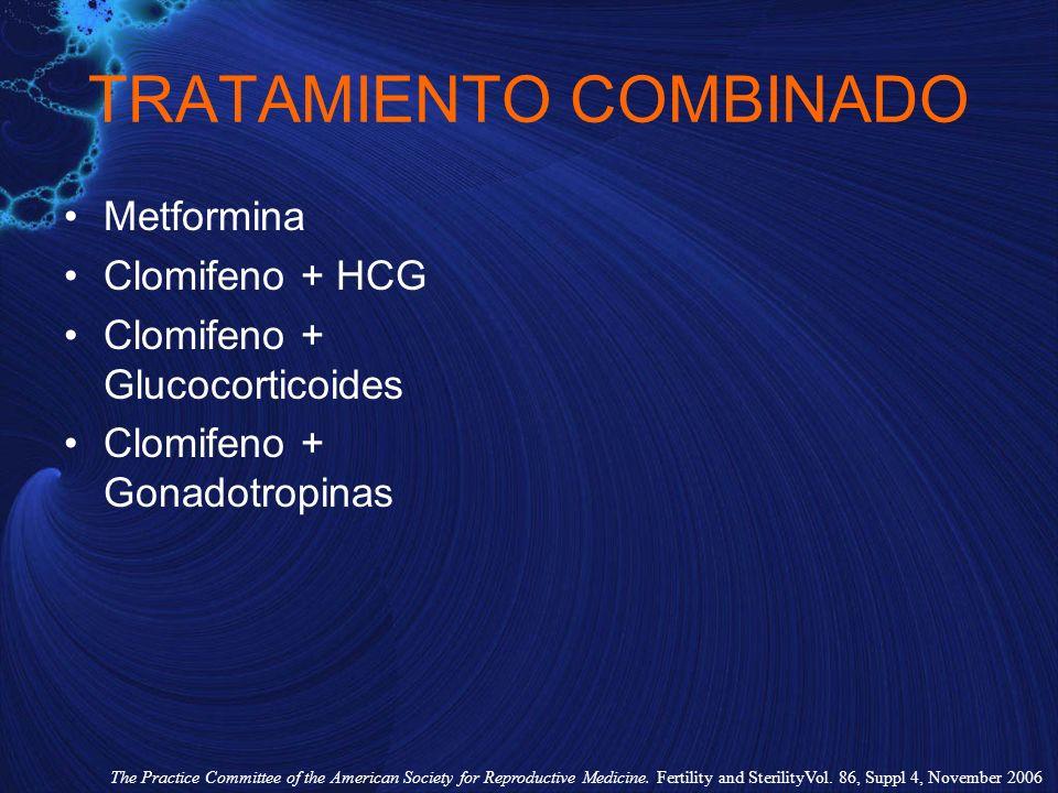 TRATAMIENTO COMBINADO Metformina Clomifeno + HCG Clomifeno + Glucocorticoides Clomifeno + Gonadotropinas The Practice Committee of the American Societ