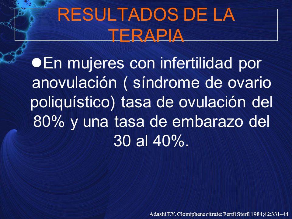 RESULTADOS DE LA TERAPIA En mujeres con infertilidad por anovulación ( síndrome de ovario poliquístico) tasa de ovulación del 80% y una tasa de embara