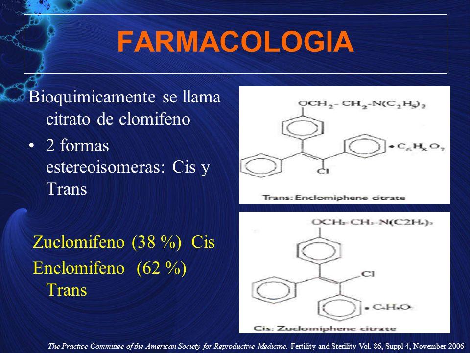 FARMACOLOGIA Bioquimicamente se llama citrato de clomifeno 2 formas estereoisomeras: Cis y Trans Zuclomifeno (38 %) Cis Enclomifeno (62 %) Trans The P