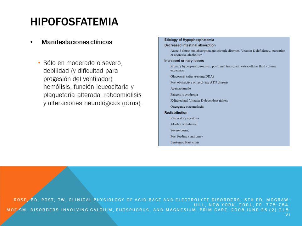 HIPOFOSFATEMIA Manifestaciones clínicas Sólo en moderado o severo, debilidad (y dificultad para progesión del ventilador), hemólisis, función leucocit