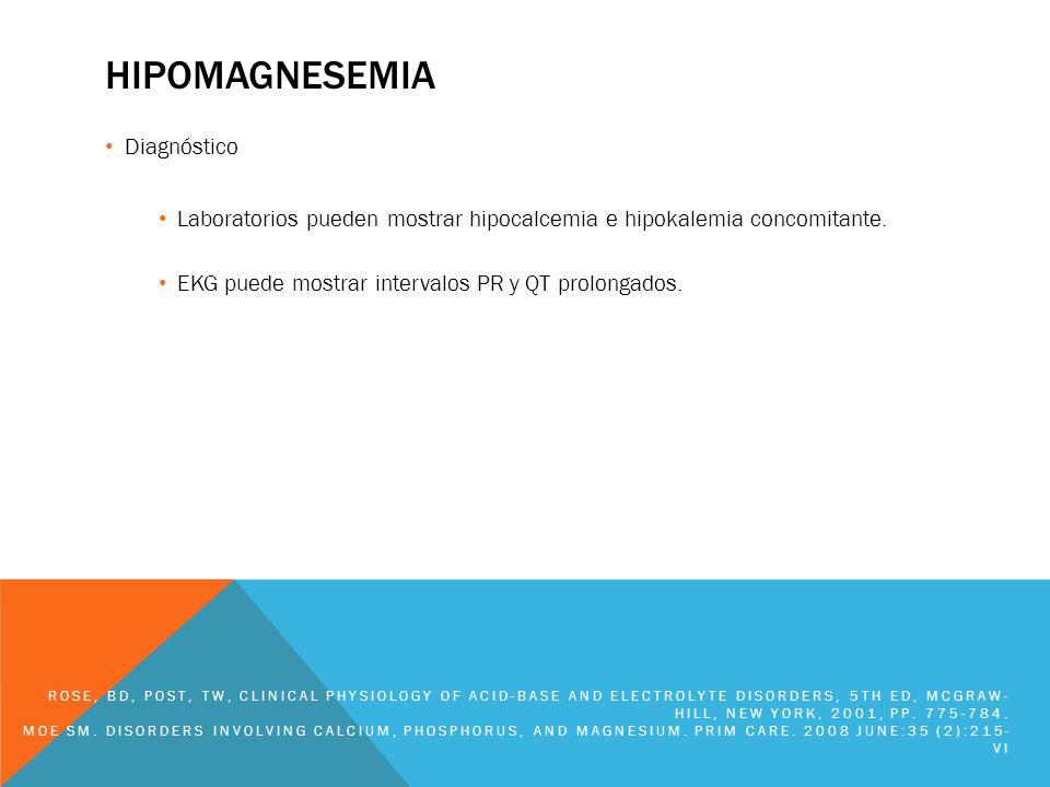 HIPOMAGNESEMIA Diagnóstico Laboratorios pueden mostrar hipocalcemia e hipokalemia concomitante. EKG puede mostrar intervalos PR y QT prolongados. ROSE