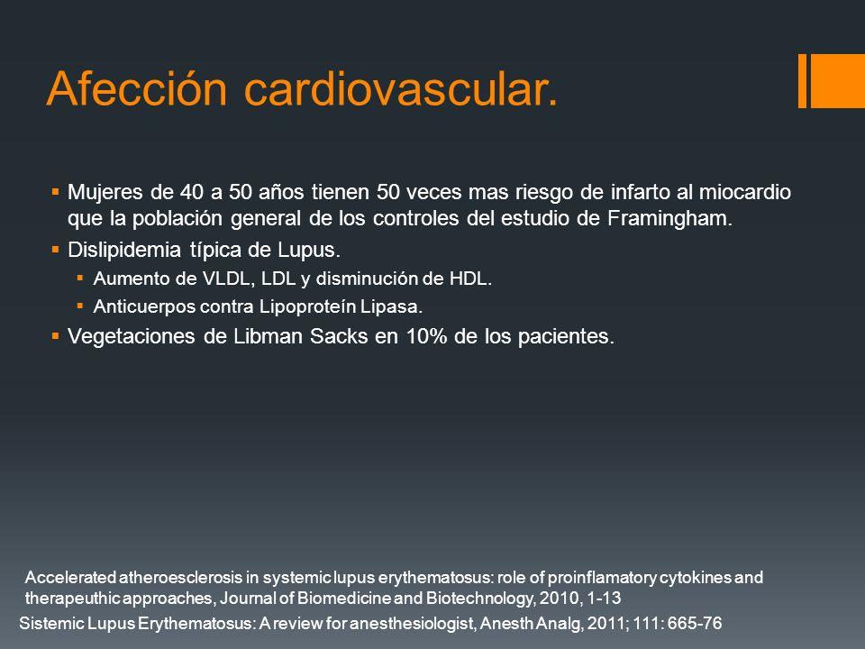 Afección cardiovascular. Mujeres de 40 a 50 años tienen 50 veces mas riesgo de infarto al miocardio que la población general de los controles del estu