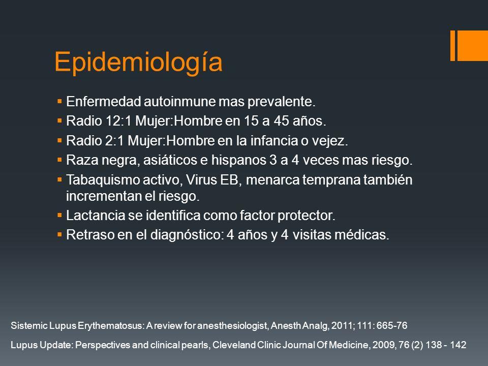 Epidemiología Enfermedad autoinmune mas prevalente. Radio 12:1 Mujer:Hombre en 15 a 45 años. Radio 2:1 Mujer:Hombre en la infancia o vejez. Raza negra