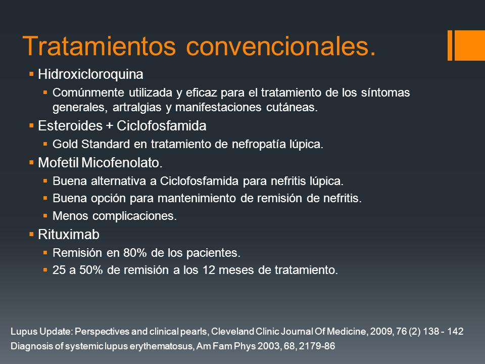 Tratamientos convencionales. Hidroxicloroquina Comúnmente utilizada y eficaz para el tratamiento de los síntomas generales, artralgias y manifestacion