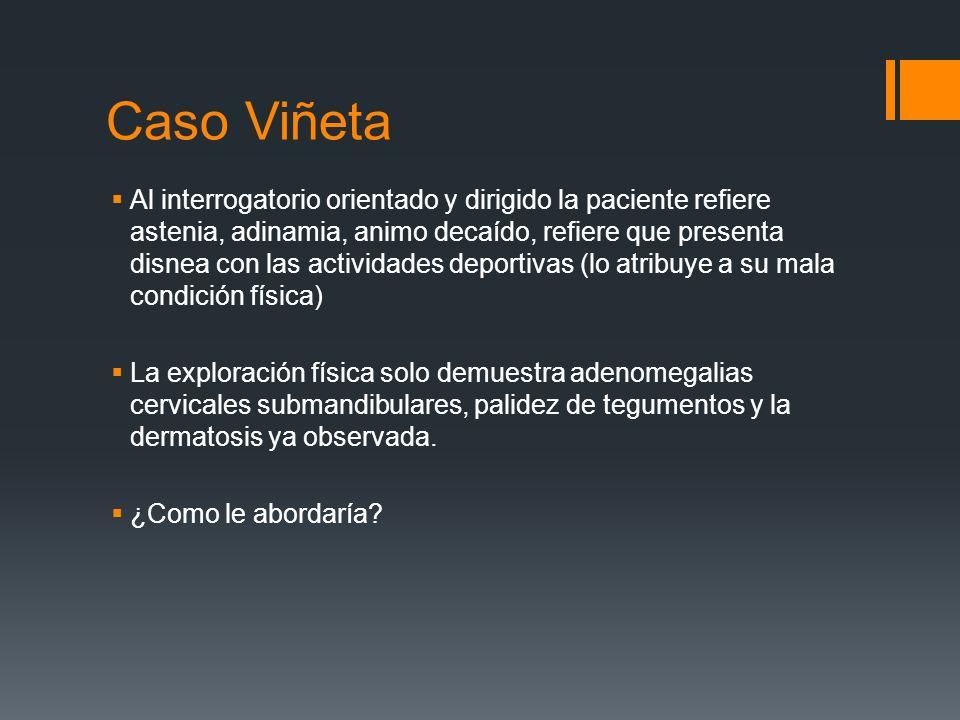 Caso Viñeta Al interrogatorio orientado y dirigido la paciente refiere astenia, adinamia, animo decaído, refiere que presenta disnea con las actividad