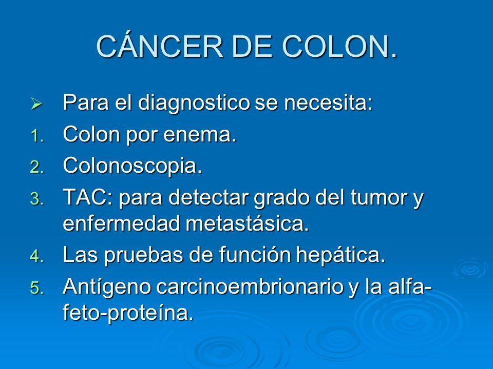 CÁNCER DE COLON. Para el diagnostico se necesita: Para el diagnostico se necesita: 1. Colon por enema. 2. Colonoscopia. 3. TAC: para detectar grado de