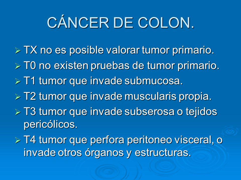 CÁNCER DE COLON. TX no es posible valorar tumor primario. TX no es posible valorar tumor primario. T0 no existen pruebas de tumor primario. T0 no exis