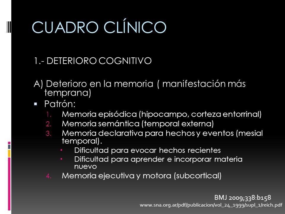 CUADRO CLÍNICO 1.- DETERIORO COGNITIVO A) Deterioro en la memoria ( manifestación más temprana) Patrón: 1. Memoria episódica (hipocampo, corteza entor