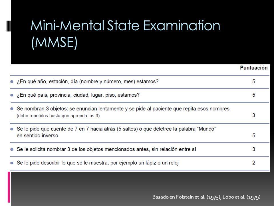 Mini-Mental State Examination (MMSE) Basado en Folstein et al. (1975), Lobo et al. (1979)