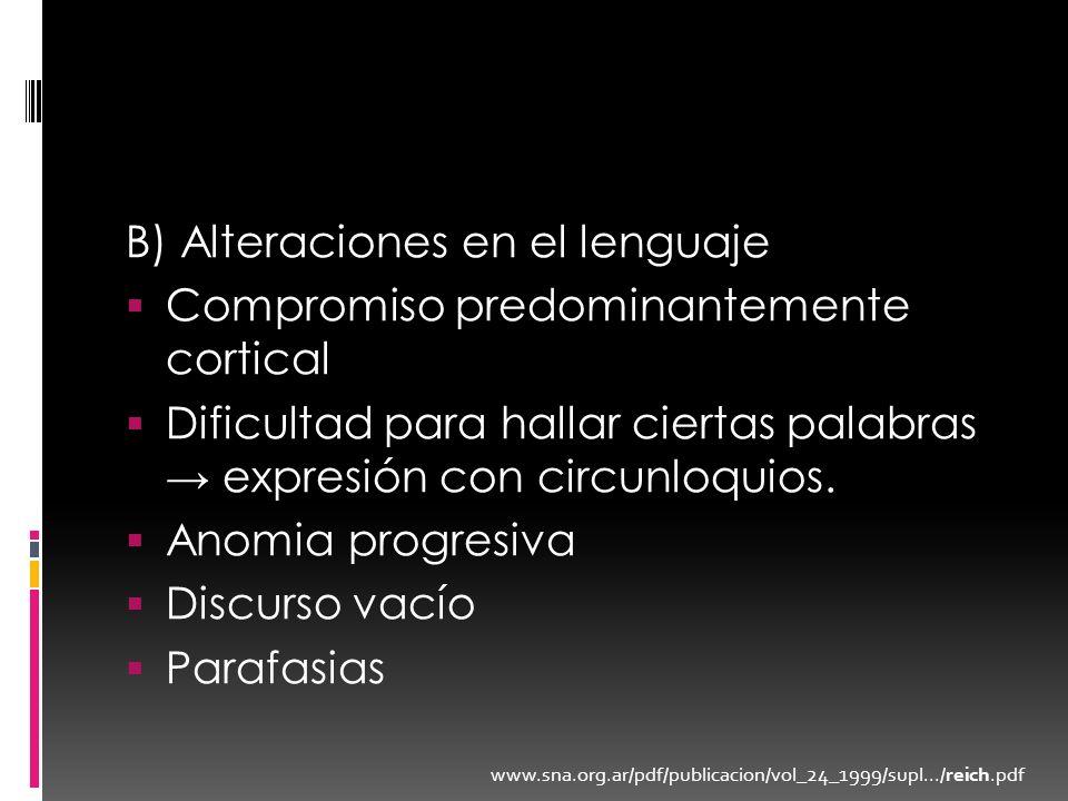 B) Alteraciones en el lenguaje Compromiso predominantemente cortical Dificultad para hallar ciertas palabras expresión con circunloquios. Anomia progr