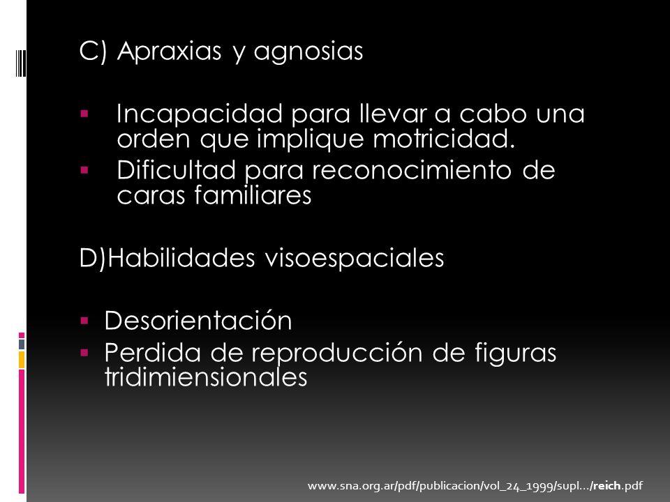 C) Apraxias y agnosias Incapacidad para llevar a cabo una orden que implique motricidad. Dificultad para reconocimiento de caras familiares D)Habilida