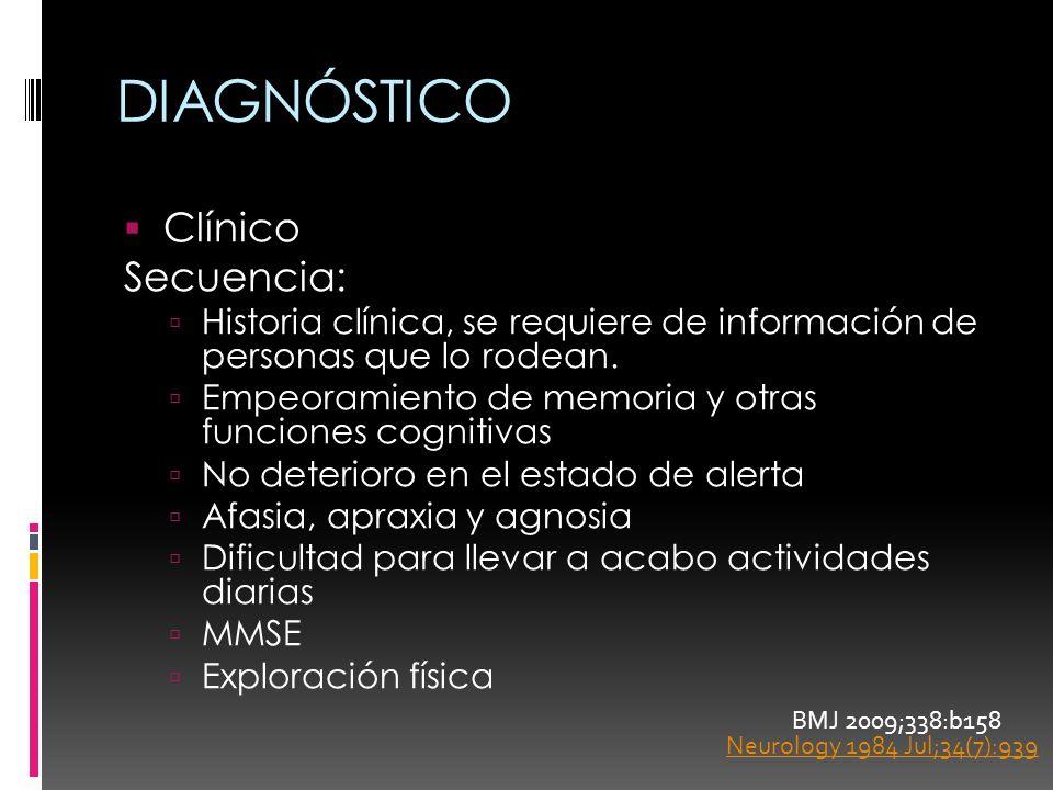 DIAGNÓSTICO Clínico Secuencia: Historia clínica, se requiere de información de personas que lo rodean. Empeoramiento de memoria y otras funciones cogn