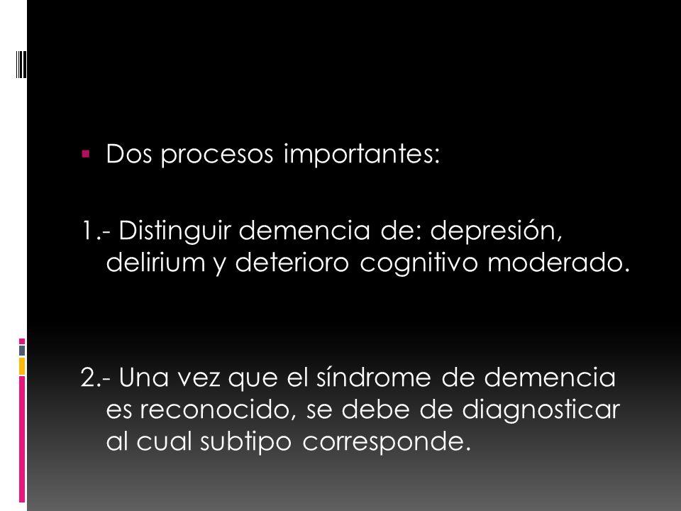 Dos procesos importantes: 1.- Distinguir demencia de: depresión, delirium y deterioro cognitivo moderado. 2.- Una vez que el síndrome de demencia es r
