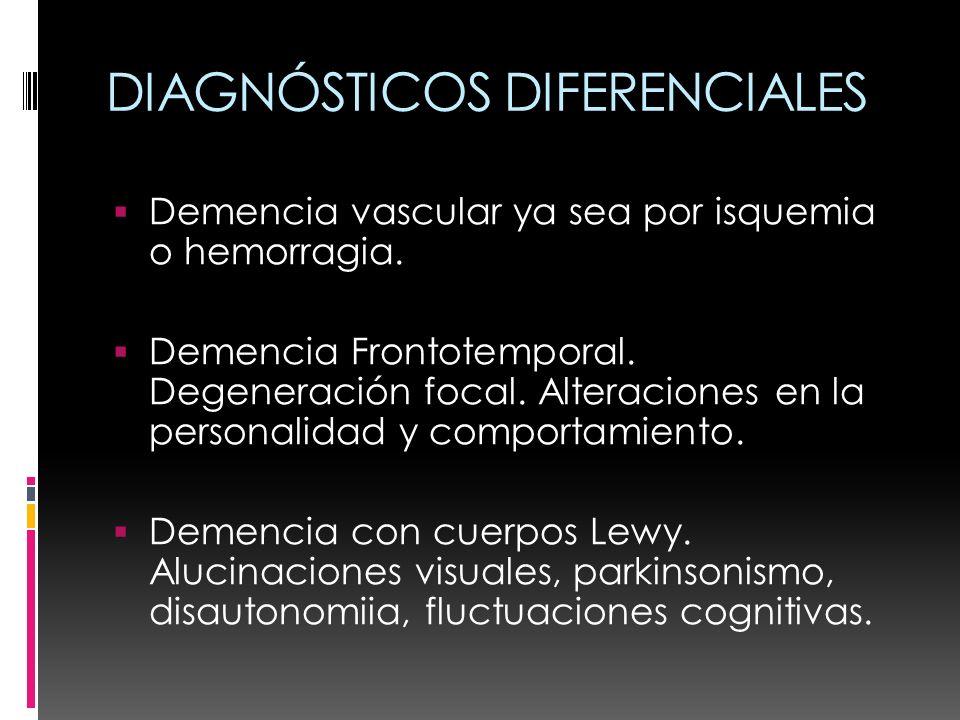 DIAGNÓSTICOS DIFERENCIALES Demencia vascular ya sea por isquemia o hemorragia. Demencia Frontotemporal. Degeneración focal. Alteraciones en la persona