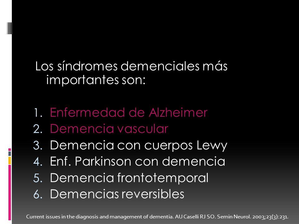 Los síndromes demenciales más importantes son: 1. Enfermedad de Alzheimer 2. Demencia vascular 3. Demencia con cuerpos Lewy 4. Enf. Parkinson con deme